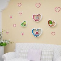 Wooden 3D Heart Shaped Wall Stickers Muraux Acrylic Stereo R...