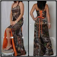 2020 고삐 카모 오렌지 신부 들러리 드레스 스프레이 스윕 기차 레이스 업 위로 맞춤형 슬림 Vestidos 드 신부 들러리 드레스 저렴한 하녀 명예