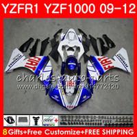 보디 용 YAMAHA YZF 블루 화이트 1000 R 1 YZF-1000 YZF-R1 09 12 보디 85NO29 YZF1000 YZFR1 09 10 11 12 YZF R1 2009 2010 2011 2012 페어링