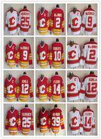 Retro Calgary Flames Buz Hokeyi Formaları Buz 25 Joe Nieuwendyk 9 Lanny McDonald 14 Theoren Fleury 2 Macinnis 10 Roberts 30 Vernon 12 Iginla Kırmızı