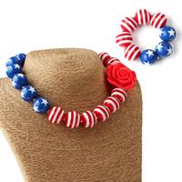 قلادة سوار مجموعة أطفال العلم الأميركي نمط مكتنزة الزاهي 2PCS مجموعة مجوهرات الطفلة مكتنزة الخرز