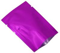 200 Pz / lotto Open Top Viola Vuoto Sacchetto di Mylar Sigillo di Calore Foglio di Alluminio Conservazione degli alimenti Sacchetto di Imballaggio Per Caffè Zucchero Imballaggio di Plastica
