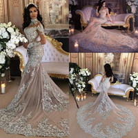 Luxury Sparkly 2018 Mermaid Wedding Dress Sexy Sheer Bling B...