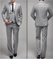 新しいスタイルカスタムメイドワンボタンスリムフィットライトグレー新郎Tuxedosサイドスリットグルーマンメンズウェディング/ディナースーツ(ジャケット+パンツ+ネクタイ+ベスト)H129