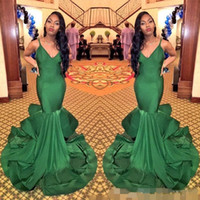 Economici verde scuro sirena africana Prom Dresses 2017 Backless Evening Party Dress Lunga Tromba Spaghetti cinghie Special Occasion Women Wear