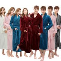 Hurtownie - jedna sprzedaż Super miękkie kobiety Mężczyźni zima Długa Ciepła Kąpiel Kochankowie Kimono Szlafrok Szlafroki Szlafroki Bride Wedding Druhna Straje Nowe
