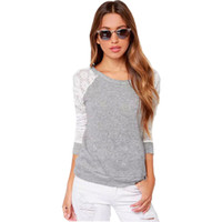 Hoodies women Fashion casual style long- sleeve lace plus siz...