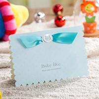 Toptan-2016 Yeni mavi pembe 3D bebek doğum parti bebek duş davetiyeleri kartı 50 adet / grup ücretsiz kargo