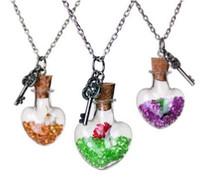 Kristalldiamanttrockener Blumentrieb, der Flaschenherzanhänger wünscht Halsketten für Schmucksachen MOQ 20pcs der Frauenliebhaber-Zwillinghalskette DIY Freies Verschiffen