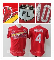 Yadier Molina 4 Hommes St. Louis Cardinals Maillots de baseball Broderie Logos Men's Majestic Scarlet 2017 Spring Training Cool Base Player Je