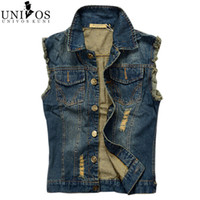 Wholesale- Mens Denim Vest 2016 New Brand Jeans Gilet uomo Slim Fit giacca senza maniche Plus Size 6XL Patchwork Gilet Gliet Uomini Z1655