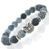 wholesale new owl natural stone beads bracelet bangle for men women stretch yoga lava stone jewelry fashion accessories for lovers