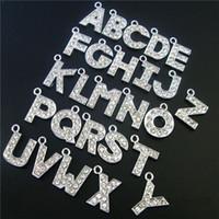 prix de gros 130pcs zinc alliage couleur argent strass plein Suspendez lettres environ 15x15mm Accessoires de bricolage Livraison gratuite