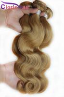 Honey Blonde brasileño de la Virgen mechones de cabello humano # 27 brasileño teje la onda del cuerpo del pelo ondulado barato Extensiones de cabello rubio fresa 3 pcs