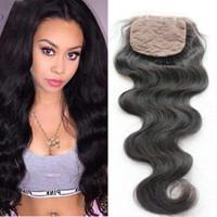 Малайзийские человеческие волосы закрытие волос 4x4 дюйма шелковая база закрытия тела волна 100 человеческих волос шелковая база закрывает свободную часть
