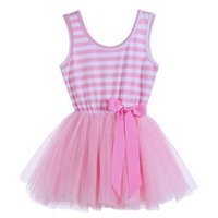 Girls striped tutu tulle dresses with bow, summer baby child...