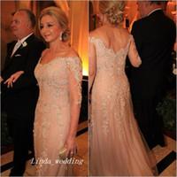 Élégante Champagne Mère de la robe de mariée avec 3/4 manches longues dentelle dentelle Finmove de mariée robe de mariée et taille Vestido de Madrinha