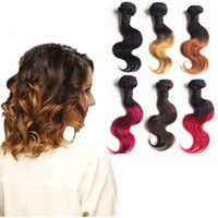Hot Selling Brazilian Hair Short Body Wave Ombre Hair Extens...