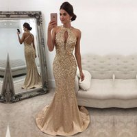 Perline di cristallo oro buco della serratura perline Prom Dresses 2018 Hollow Front Sexy Long Custom Made Abiti da sera BA5572