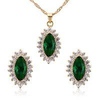 Conjunto de jóias de cor de ouro de cristal verde colar + brincos para mulheres cúbicas zircão colar brincos de design de gota de água