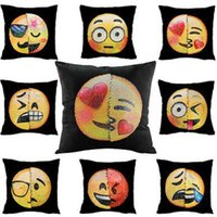 Reversible Sequin emoji Pillow Case cover Double Color Cushi...