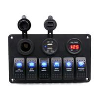 Voltmetro digitale 12V Presa per sigaretta Doppia USB Caricabatterie Adattatore Adattatore da incasso Impermeabile 6 Gang Pannello interruttore a bilanciere nero per auto RV B