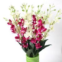10 unids rama de la hoja de la orquídea artificial para la boda del hotel de la oficina nupcial decoración del ramo 3 colores para elegir