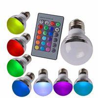 بيع جديد E27 E14 3W RGB LED 16 اللون تغيير ضوء مصباح لمبة أوبال غطاء عكس الضوء led rgb لمبة ضوء + 24 مفتاح لاسلكي البعيد تحكم