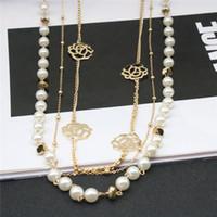 Kvinnor Halsband Imiterat Pearl Chian Flower Halsband Alloy Lång kedja för Kvinnor Klädtillbehör Smycken Gift