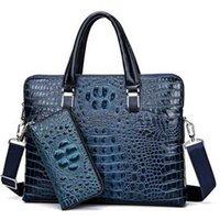 Cartella di coccodrillo di lusso da uomo in pelle 100% borsa di marca borsa di computer notebook moda borsa da 13 pollici borsa messenger