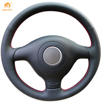 Mewant Black Genuine Leather Car Steering Wheel Cover for Vo...