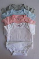 Meilleurs Baby Rompers Costumes Été Triangle Triangle Romper Onesies 100% coton Bébés à manches courtes Vêtements Garçon Garçon Pure Blanc Full Tailles