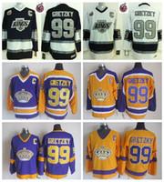 رجل Los Angeles Kings Way Gretzky Hockey Jersey Vintage 1983-1993 Stanley Cup 100th CCM 99 Wayne Gretzky Stitched Jersey C Patch
