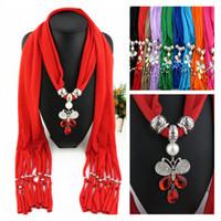 Simples cor sólida borboleta de cristal pingente borla cachecóis jóias COLAR PINGENTE LENÇO para as mulheres 8 cores