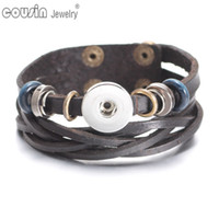 SZ0447a New Arrivals Leather Rope Woven Wrap Bracelet Men fi...