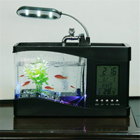 Mini USB Aquarium con display LCD Desktop Fish Tank LED Clock Lampada da tavolo Fish Tank Aquarium LED Clock Bianco nero
