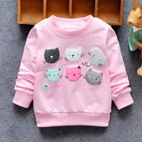 2017 Baby Kids manga larga Autum Pull Top Hoodies Cartoon Cat Jacket Hoody