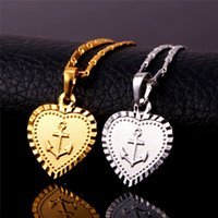 Women Fashion love- shaped anchor Pendant Necklaces luxury rh...