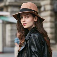 Kadın Katı Yün Fötr Şapkalar Ilmek ile Klasik Sun Şapka Panama Stil Kadın Bantlar Şapkalar VIVI ile Kadın Dar Brim