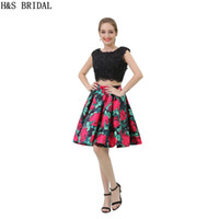 2017 Two Pieces Prom Dresses Vestidos Black Rose Printed Sho...