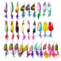 30pcs Assorted Bright Color Spinner Super New Fishing Lure Rotation Squins Set Pike Salmon Bass T10