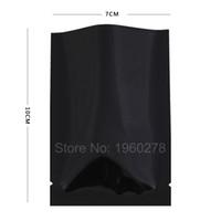 """7 x 10 cm (2,74 x 4 """") 100 stücke aluminiumfolie Drei seitenverschluss Schwarz offene top verpackungsbeutel mini packsack für pulver lebensmittelgeschäft"""