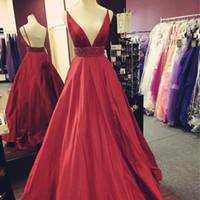 دارد الأحمر مثير مساء اللباس فساتين أنيقة السباغيتي الأشرطة ديب V الرقبة أكمام عارية الذراعين مطرز الخصر Vestidos فيستا الحفلة الراقصة