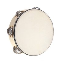 "Wholesale- 8"" Double Row Tambourine Drum Bell Birch Meta..."