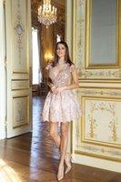 2018 Новый специальный случай Lace Короткие Homecoming платье Элегантный розовый с длинным рукавом высоким горлом Мини коктейль платья