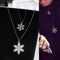 Naszyjnik sweter zimowy snowflake podwójna warstwa sześcienna cyrkonia długi naszyjnik dla kobiet