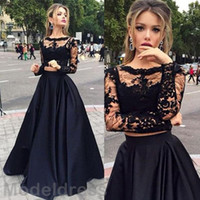 New Two Pieces Lace Party Dresses Sheer Neckline Long Sleeve...
