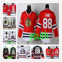 Moda Gençlik Şikago # 88 Patrick Kane # 19 Jonathan Geri Dönüşüm # 2 Duncan Keith Yeşil Siyah Kırmızı Beyaz Çocuklar Blackhawks Hokeyi Boys Dikişli Formalar