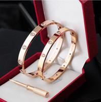 2018 Nouveau style Top or 18 carats en acier inoxydable 316L Bracelet jonc à vis avec tournevis et boîte d'origine Drop Shipping