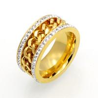 Top Qualtiy Aço Inoxidável dois Row Strass Cadeia Anéis para mulheres dos homens jóias finas bling luxo Anel de Dedo de prata de Ouro
